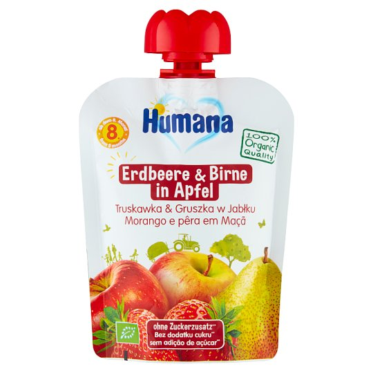 Humana 100% Organic Apple-Pear-Strawberry after 8 Months Onwards Mousse 90 g