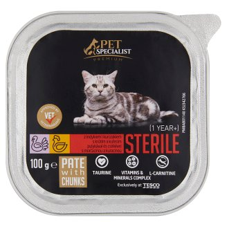 Tesco Pet Specialist Premium Pate with Turkey and Chicken Food for Adult Sterile Cats 100 g