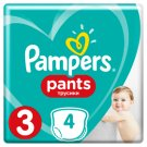 Pampers Pants Size 3, 4 Nappies, 6-11kg, Absorbing Channels