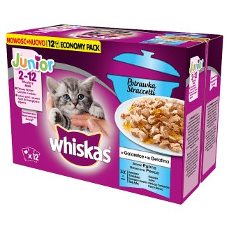 Whiskas Junior Stew in Jelly Fish Flavors Complete Cat Food 2-12 Months 1020 g (12 x 85 g)