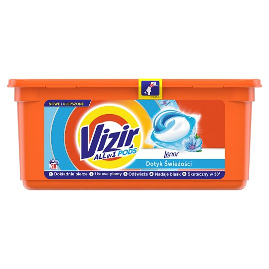 Vizir Go Pods Touch of Lenor Freshness Gel Capsules Detergent for Laundry 28 Washes
