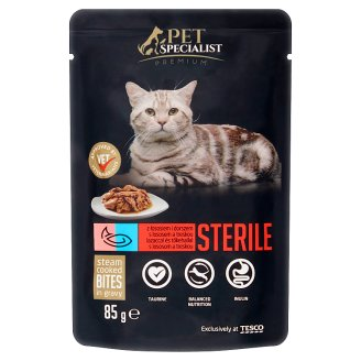 Tesco Pet Specialist Premium Salmon and Pollock in Sauce Food for Adult Sterile Cats 85 g