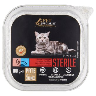 Tesco Pet Specialist Premium Pate with Salmon and Trout Food for Adult Sterile Cats 100 g
