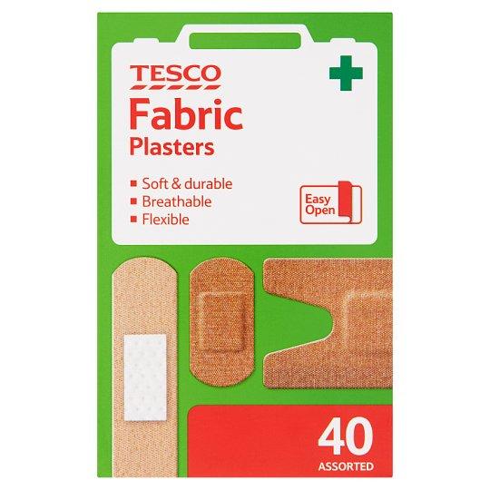 Tesco Zestaw plastrów opatrunkowych materiałowych 40 sztuk