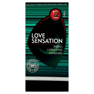 Love Sensation Ribbed Lubricated Condoms 12 Pieces