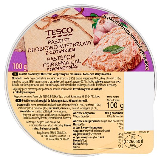 Tesco Pork and Poultry Paté with Garlic 100 g