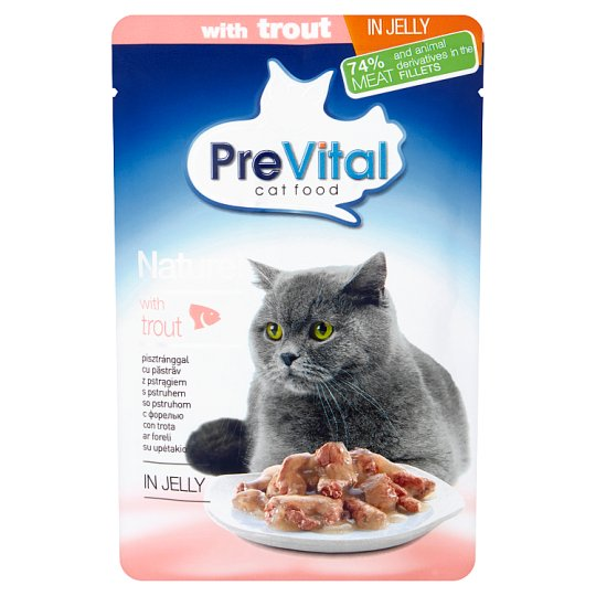 PreVital Naturel Complete Food for Adult Cats with Trout in Jelly 85 g