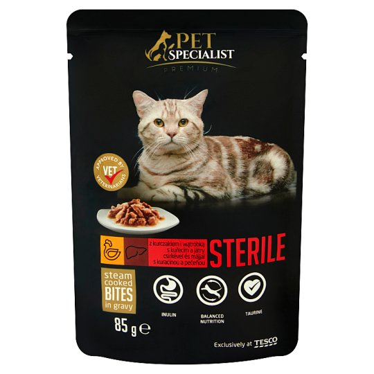 Tesco Pet Specialist Premium Chunks with Chicken and Liver Food for Adult Sterile Cats 85 g