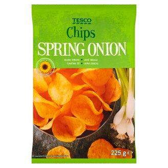 Tesco Chipsy ziemniaczane o smaku zielonej cebulki 225 g