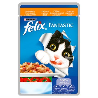 Felix Fantastic Food for Adult Cats with Chicken and Tomatoes in Jelly 100 g