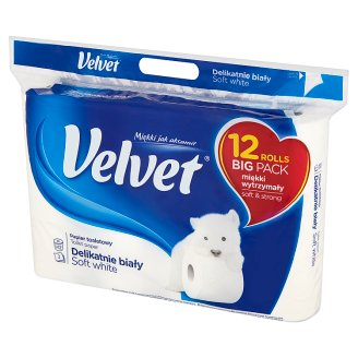 Velvet Pure White Toilet Paper 12 Rolls