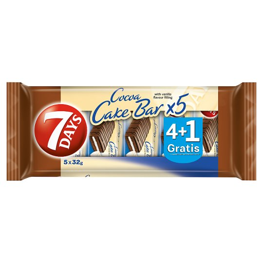 7 Days Cocoa Cake Bar with Vanilla Flavour Filling 5 x 32 g