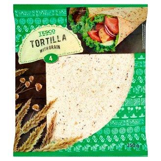 Tesco Tortilla Placki pszenne z otrębami pszennymi i siemieniem lnianym 250 g (4 sztuki)
