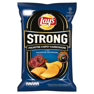 Lay's Strong Pepperoni Flavoured Spicy Corrugated Crisps 150 g