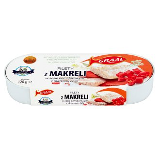 GRAAL Mackerel Fillets in Tomato Sauce with Chili Flakes 120 g
