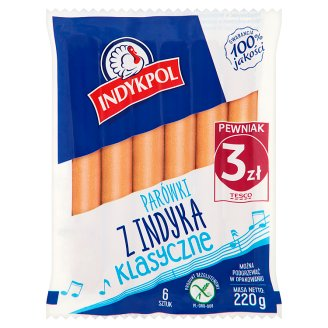 Indykpol Classic Thin Sausages with Turkey Meat 220 g (6 Pieces)