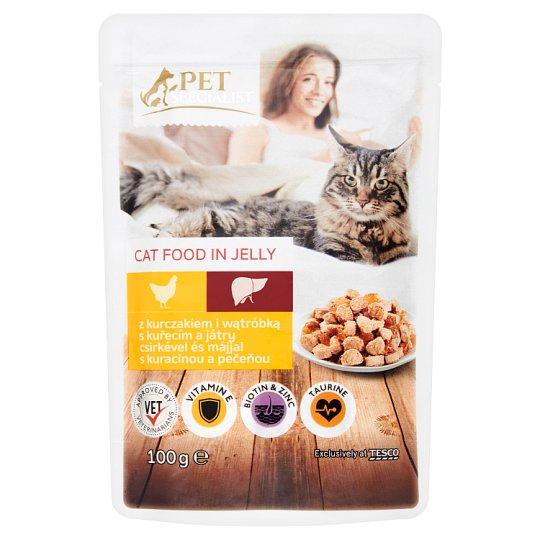 Tesco Pet Specialist Karma dla dorosłych kotów kawałki z kurczakiem i wątróbką w galaretce 100 g