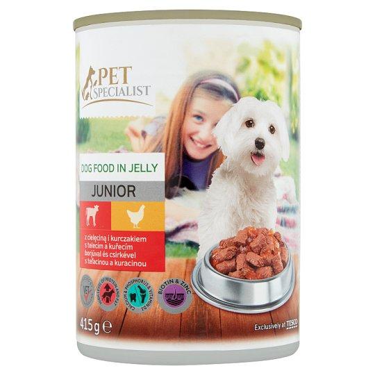 Tesco Pet Specialist Karma dla młodych psów z cielęciną i kurczakiem w galaretce 415 g