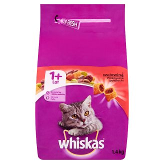 Whiskas Complete Cat Food Delicious Pasty with Beef 1+ Year 1.4 kg