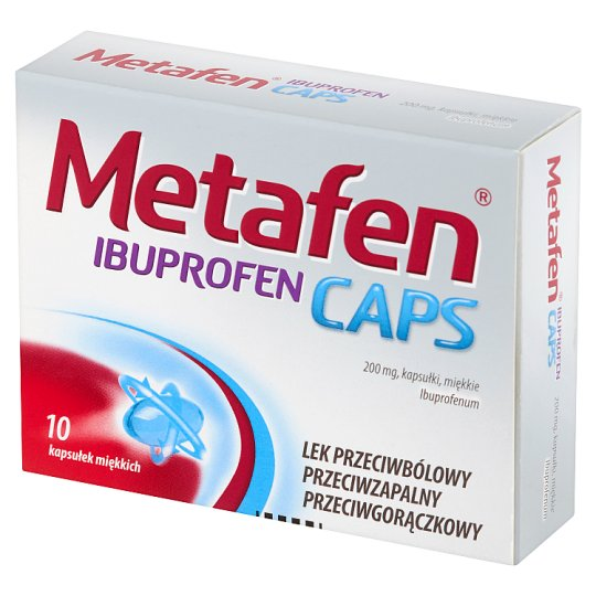 Metafen Ibuprofen Caps Painkiller Anti-inflammatory and Analgesic Medicine 10 Pieces