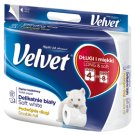 Velvet Delikatnie Biały Podwójnie Długi Papier toaletowy 4 rolki