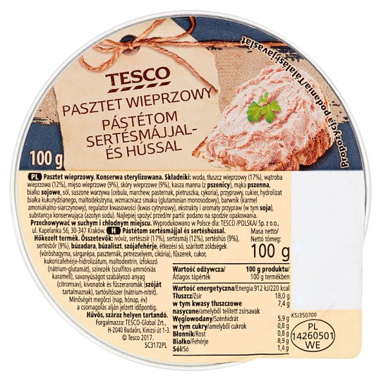 Tesco Pork Paté 100 g