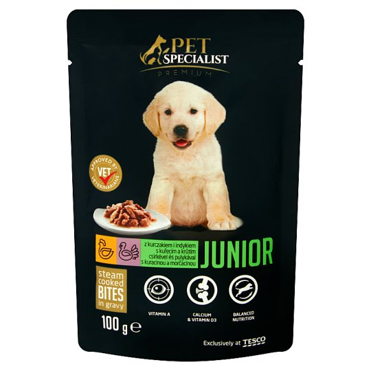 Tesco Pet Specialist Premium Karma dla młodych psów z kurczakiem i indykiem w sosie 100 g