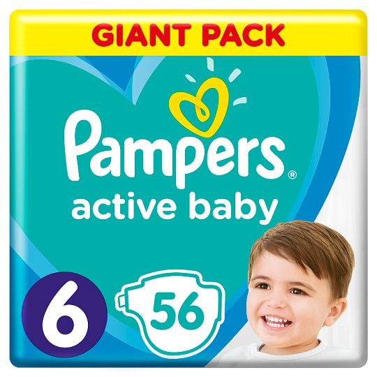 Pampers Active Baby Size 6, 56 Nappies, 13-18kg