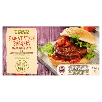Tesco Meat Style Burgers Made with Soya 454 g (8 Pieces)