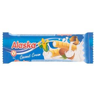 Alaska Rurki kukurydziane nadziewane kremem o smaku kokosowym 18 g