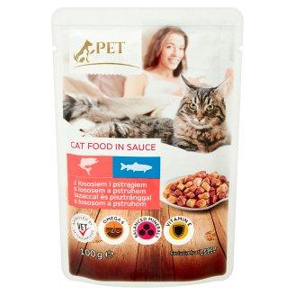 Tesco Pet Specialist Karma dla dorosłych kotów z łososiem i pstrągiem w sosie 100 g