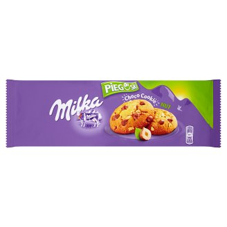 Milka Pieguski Choco Cookie Nut Ciasteczka z kawałkami czekolady mlecznej i orzechami 135 g