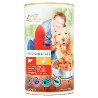 Tesco Pet Specialist Karma dla dorosłych psów kawałki z wołowiną i drobiem w sosie 1240 g