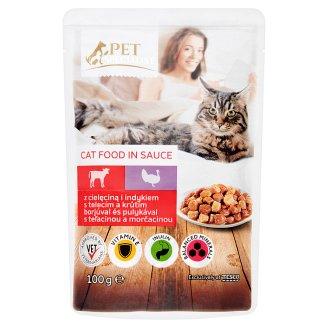 Tesco Pet Specialist Karma dla dorosłych kotów z cielęciną i indykiem w sosie 100 g