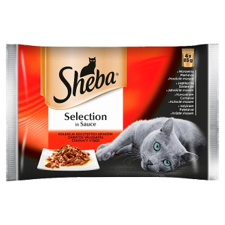 Sheba Selection in Sauce Juicy Flavors Collection Complete Cat Food 340 g (4 x 85 g)