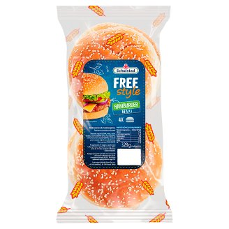 Schulstad Free Style Hamburger Wheat Roll 328 g (4 Pieces)