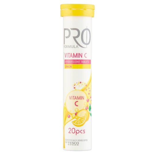 Tesco Pro Formula Vitamin C Lemon Flavoured Effervescent Tablets 80 g (20 Tablets)