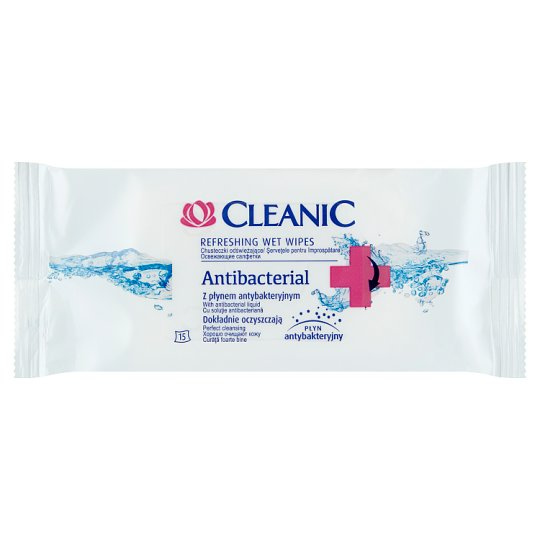 Cleanic Antibacterial Refreshing Wet Wipes with Antibacterial Liquid 15 Pieces