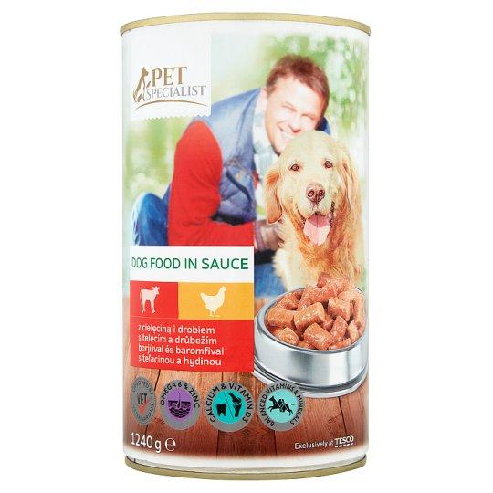 Tesco Pet Specialist Karma dla dorosłych psów z cielęciną i drobiem w sosie 1240 g