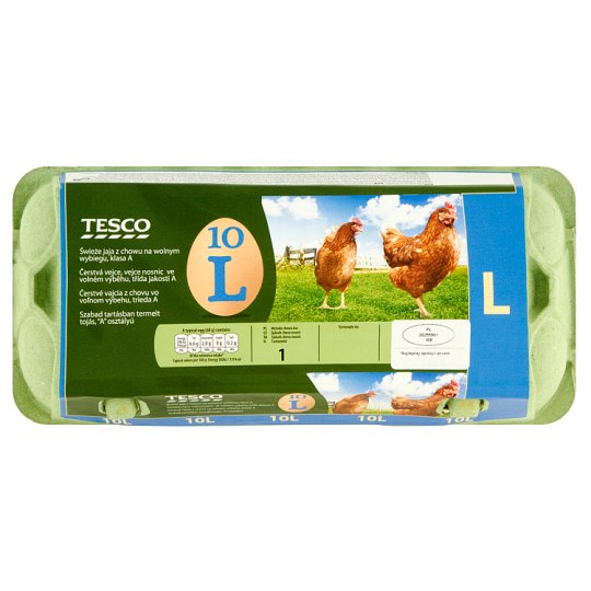 Tesco Free-range Fresh Eggs Size L 10 Pieces