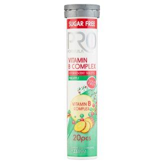 Tesco Pro Formula Vitamin B Complex Tabletki musujące o smaku ananasowym 80 g (20 tabletek)