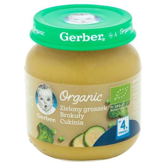 Gerber Organic Green Zucchini Broccoli Peas after 4 Months Onwards 125 g