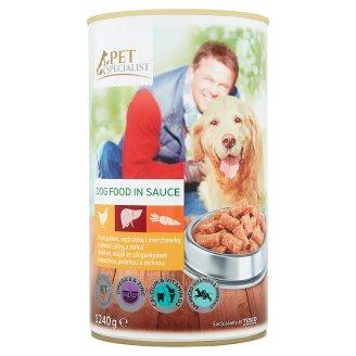 Tesco Pet Specialist Karma dla dorosłych psów z kurczakiem wątróbką i marchewką w sosie 1240 g