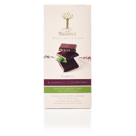 Balance Luxury Belgian Dark Chocolate with Blueberries and Strawberries with Stevia 85 g
