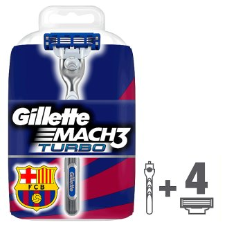 Gillette Mach3 Turbo FC Barcelona Men's Razor Handle + 4 Blades