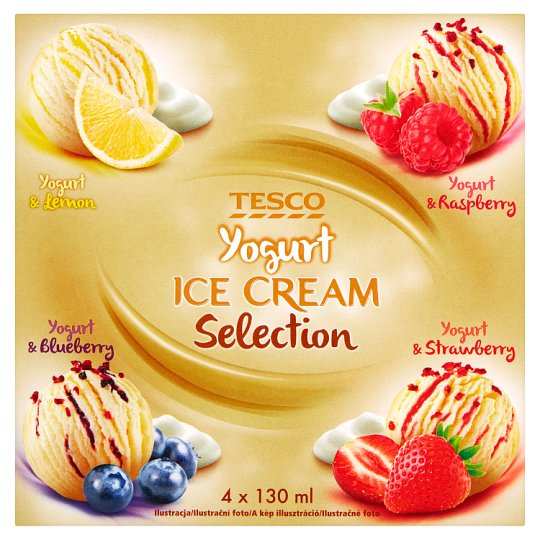 Tesco Yogurt Ice Cream Mix of Flavours 520 ml (4 Pieces)