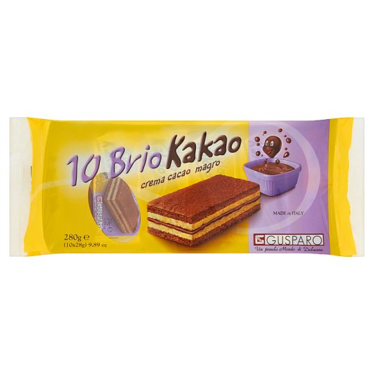 Gusparo Sponge Cake Snack with Low-Fat Cocoa Cream Filling 280 g (10 Pieces)