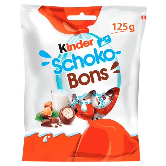 Kinder Schoko-Bons Delicacy with Milk and Hazelnut Filling Covered with Milk Chocolate 125 g