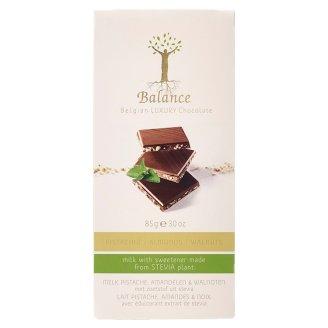 Balance Belgijska luksusowa czekolada mleczna z pistacjami migdałami i orzechami ze stewią 85 g