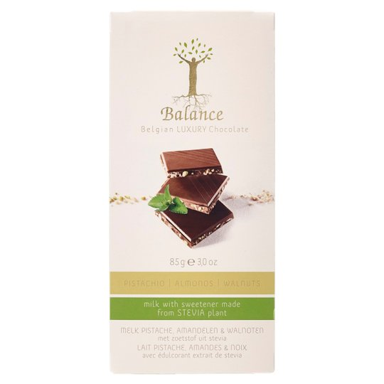 Balance Luxury Belgian Milk Chocolate with Pistachio Almond Walnut and Stevia 85 g